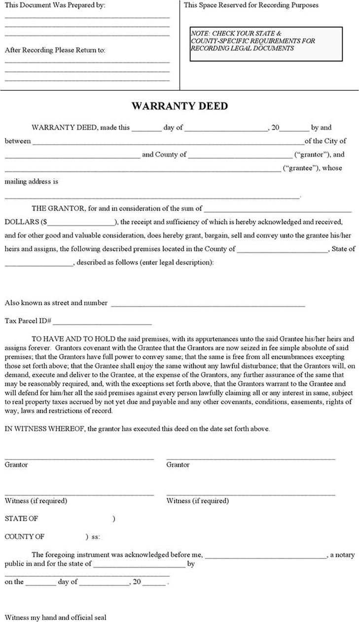 Generic Warranty Deed