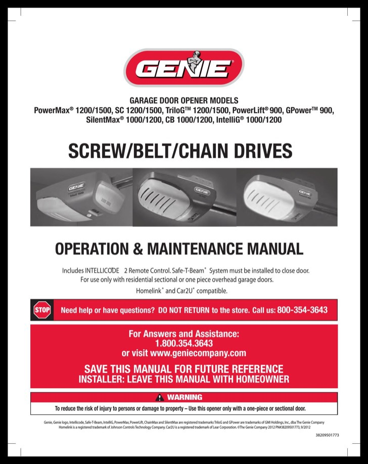 Genie Owners Manual Sample