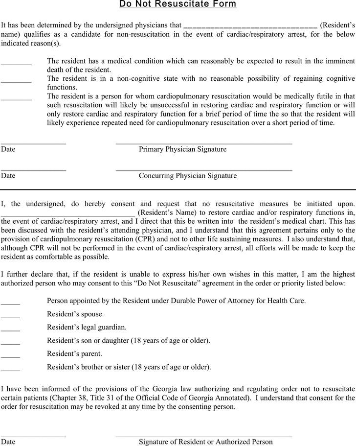 Download Georgia Do Not Resuscitate Form For Free TidyTemplates - Georgia legal forms