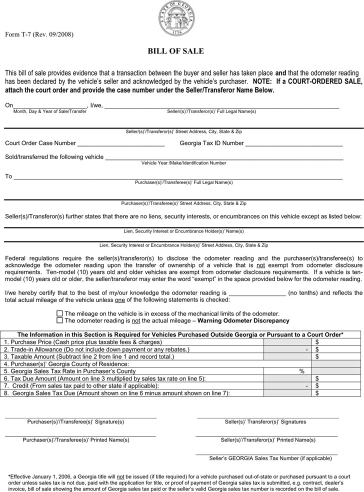 download georgia bill of sale form for free tidytemplates