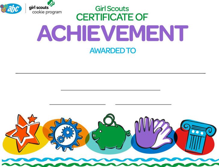 Girl Scout Achievement Certificate