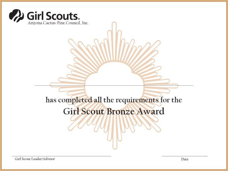 Girl Scout Bronze Award Certificate