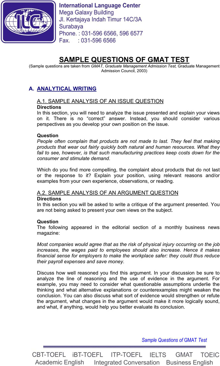 GMAT Sample Questions Template 3