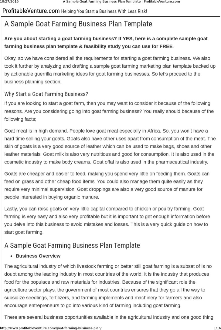 Goat Farming Business Plan Template Free Download