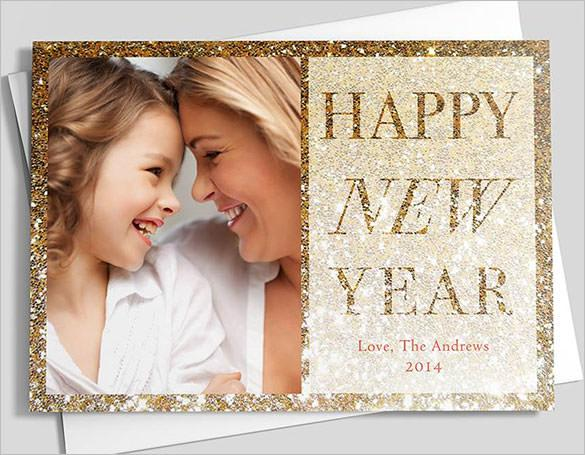 Golden New Year Greeting Card Template Download
