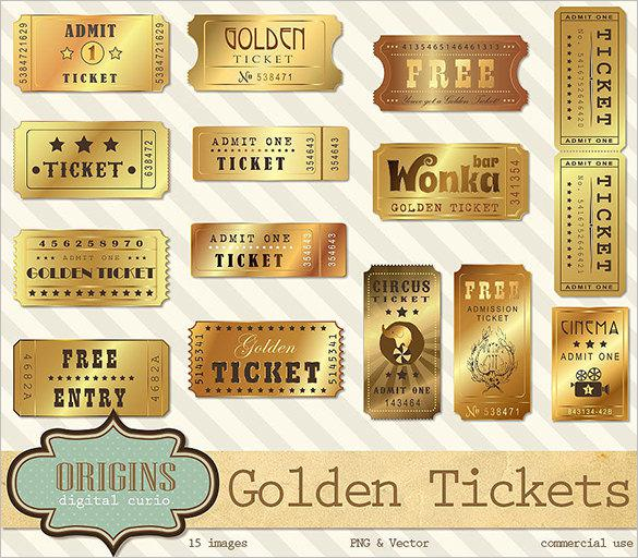 Golden Ticket Template Vector Format