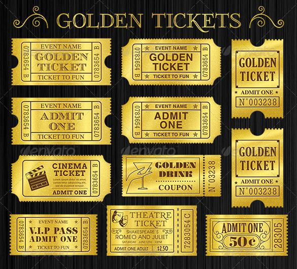Golden Tickets Templates Set Download