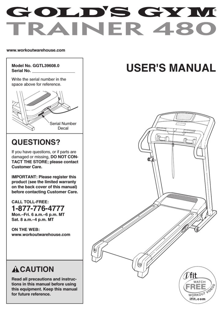 Gold's Gym User's Manual Sample