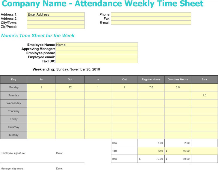 11 timesheet templates free download