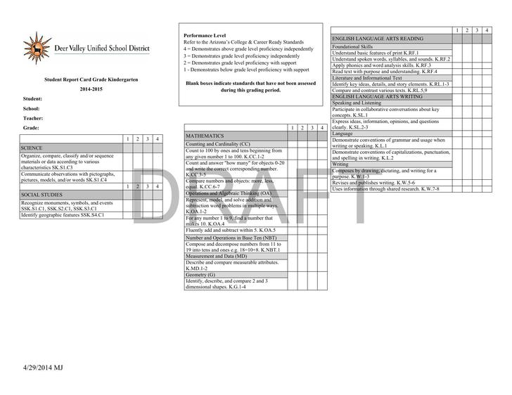 Grade K Report Card Template Final Draft PDF Format