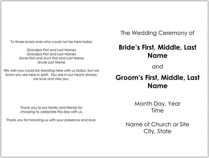 download wedding program templates for free tidytemplates
