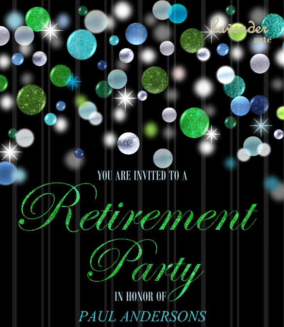 Green Blue Glitter Retirement Party Invitation