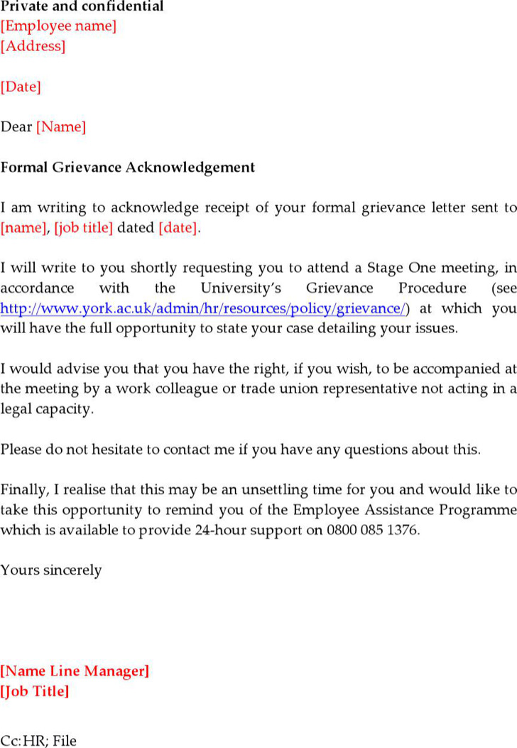 Grievance Acknowledgement Letter