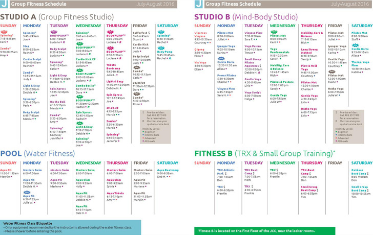 Group Fitness Schedule Template