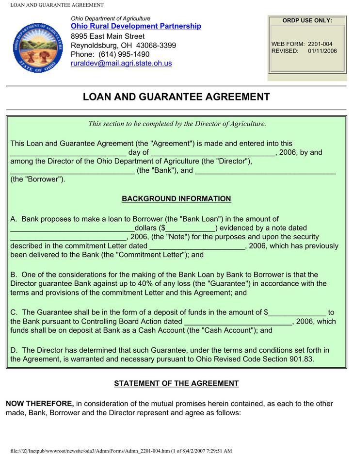 Guarantee Loan Agreement Form Template