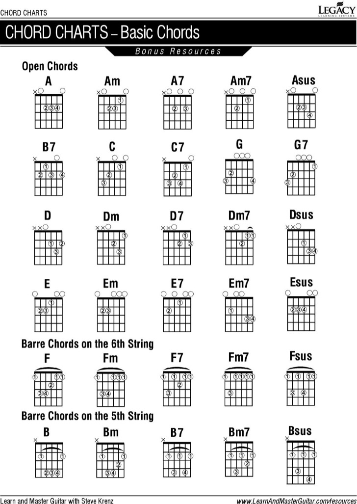 Guitar Chords Chart For Beginner Sample