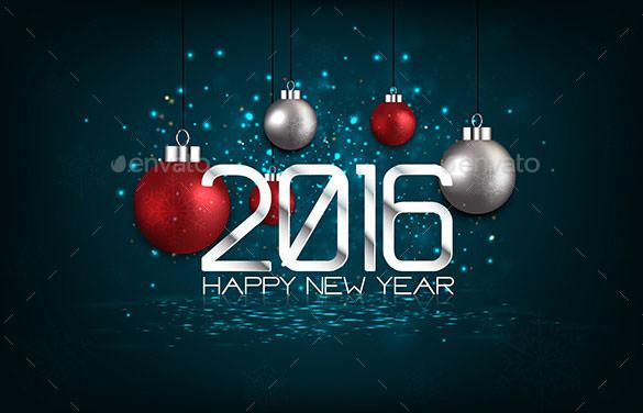 Happy New Year 2016 Greeting Card Template AI Illustrator