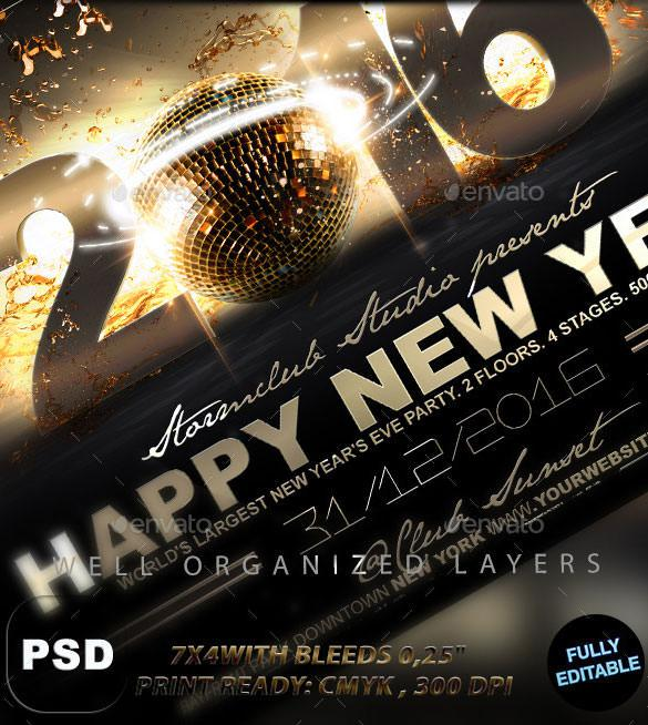Happy New Year Flyer Template PDS Design
