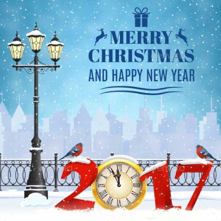 Happy New Year Greeting Card AI Format