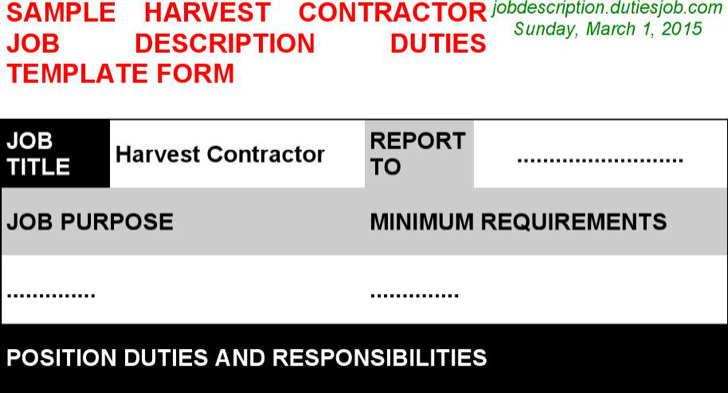 Harvest Contractor Job Description