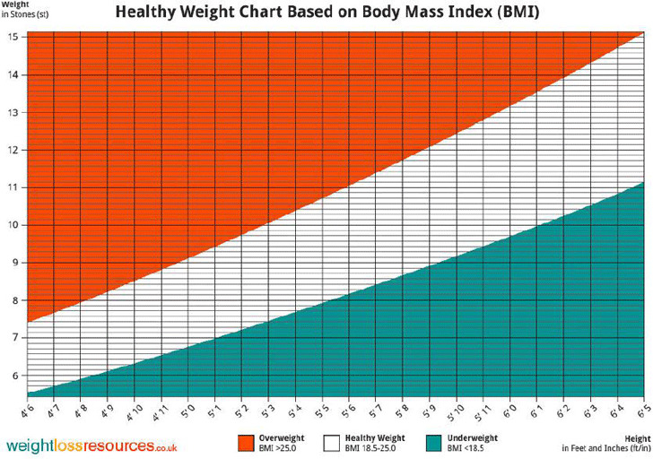 Healthy Weight Chart Based on Body Mass Index (BMI)