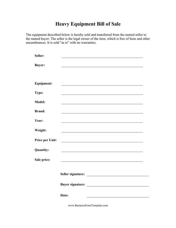 Heavy Equipment Bill of Sale Template Free Download