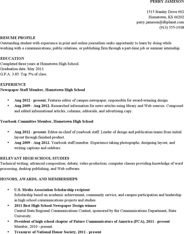 High School Academic Student Resume