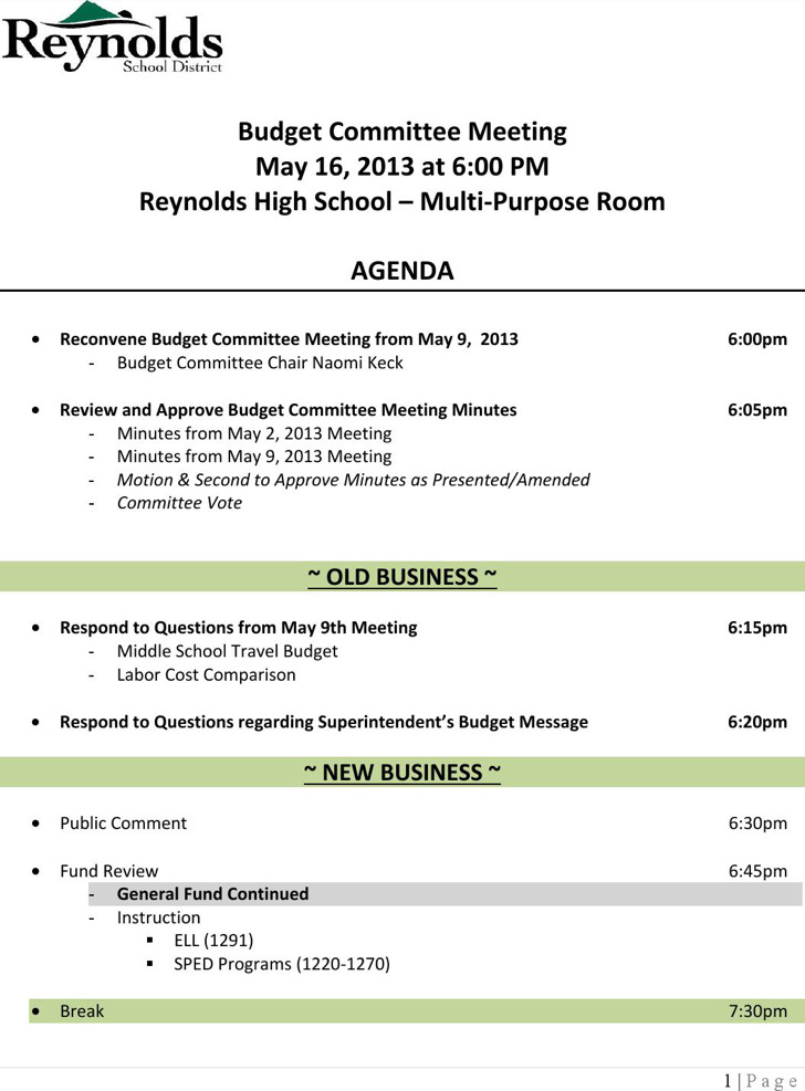 High School Budget Committee Meeting Agenda Sample