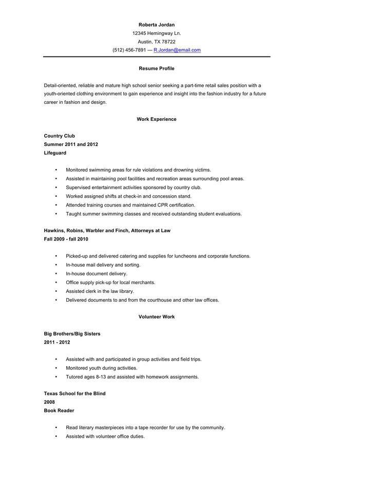High School Resume Template Word Format