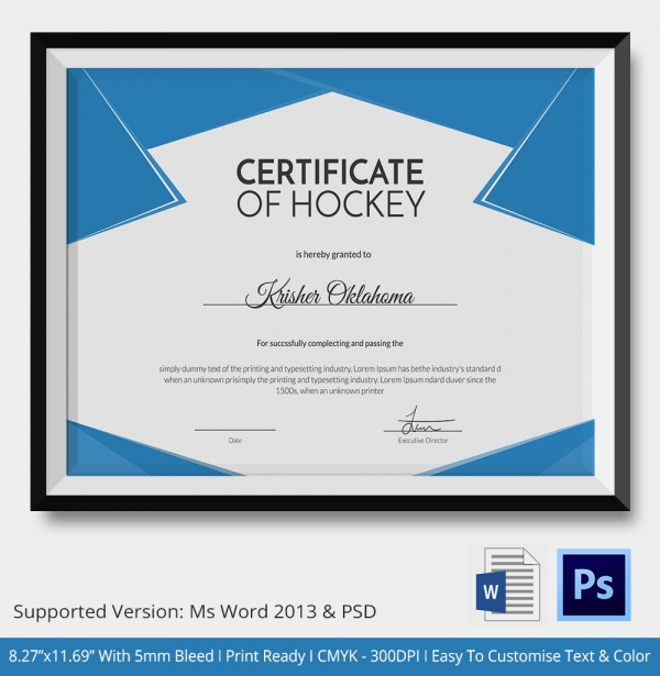 Hockey Tournament Certificate