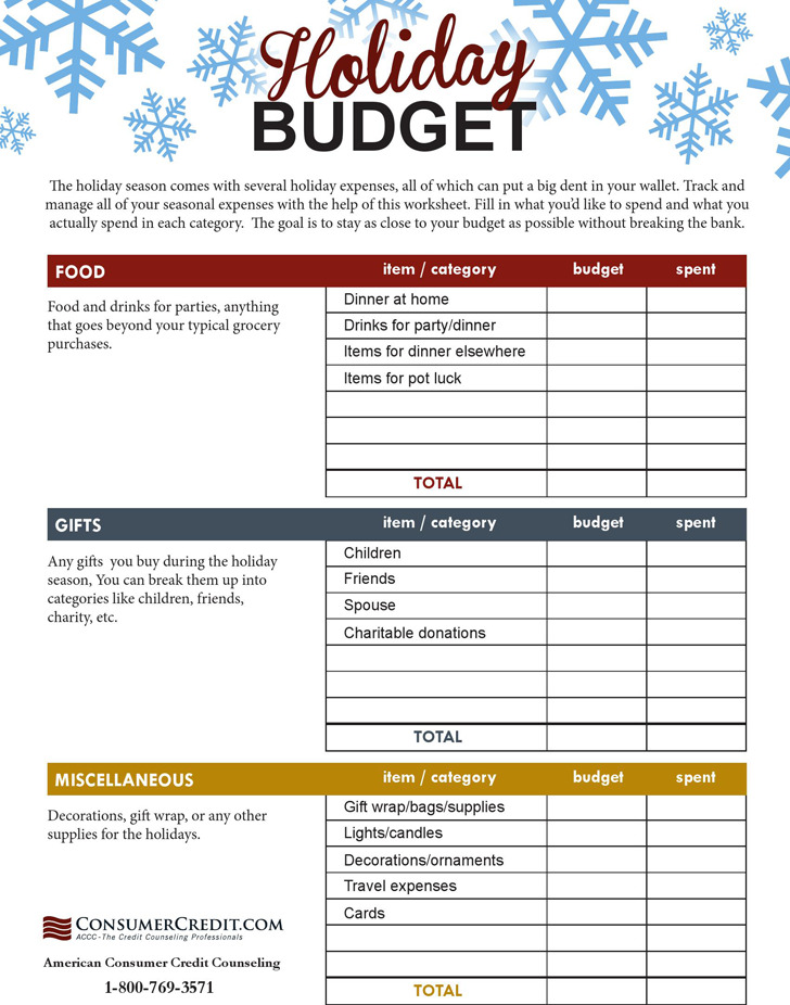 Holiday Budgeting Worksheet