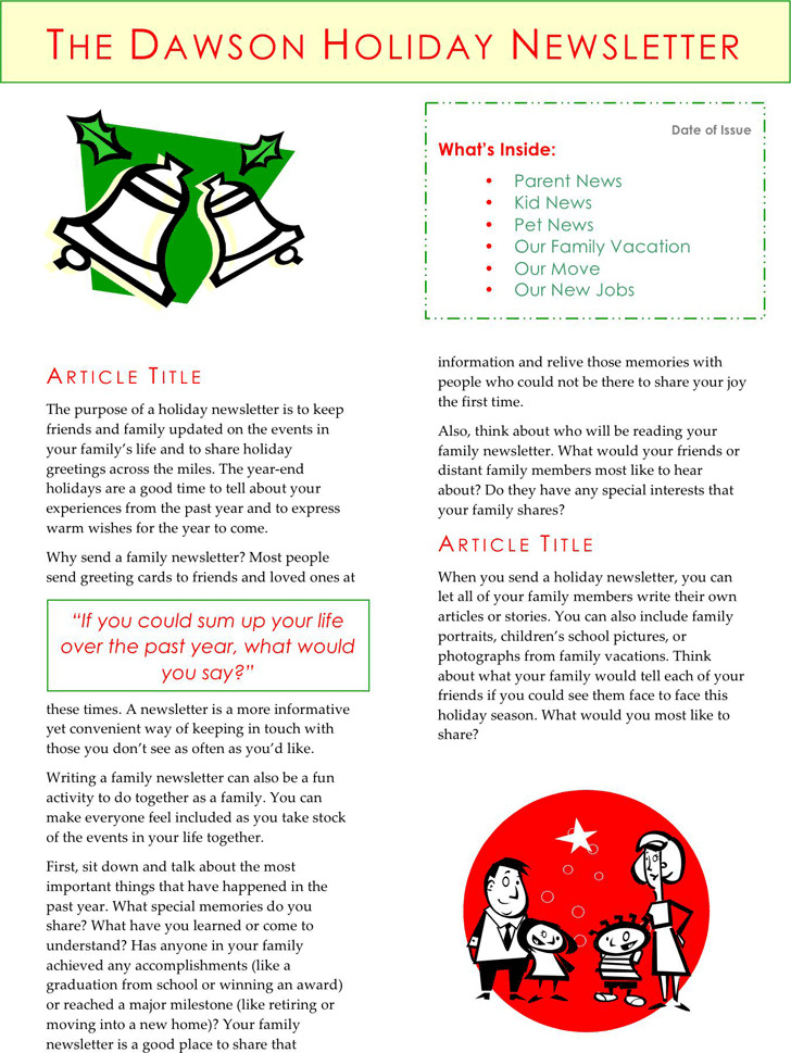 Holiday Newsletter Template 2