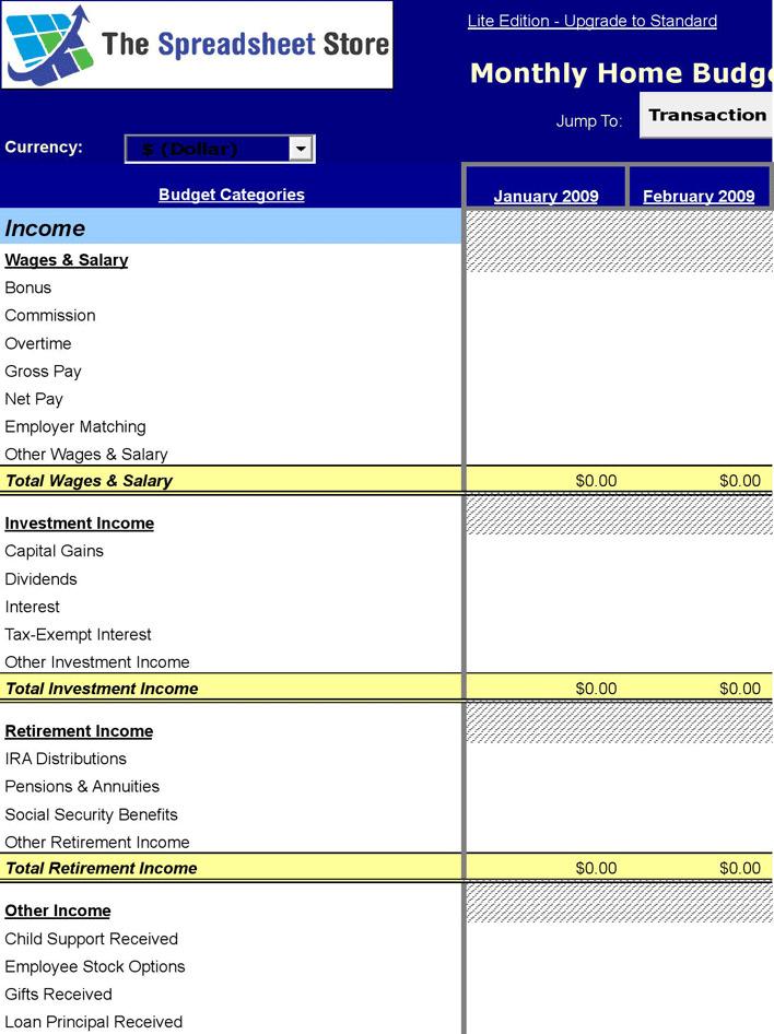 Home Budget Worksheet 1