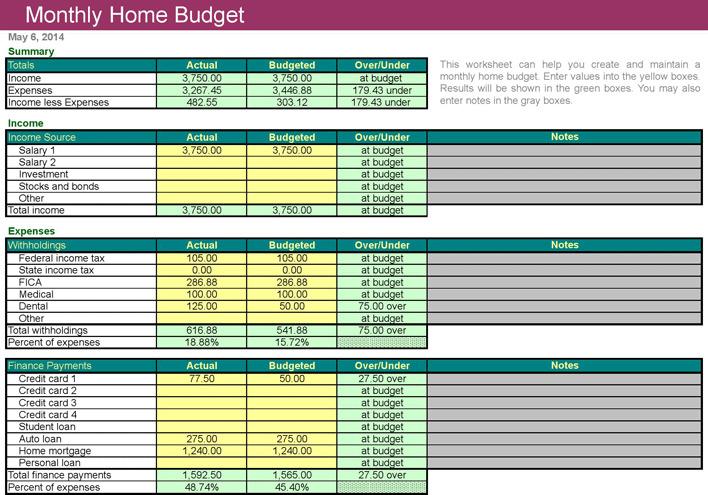 Home Budget Worksheet 2