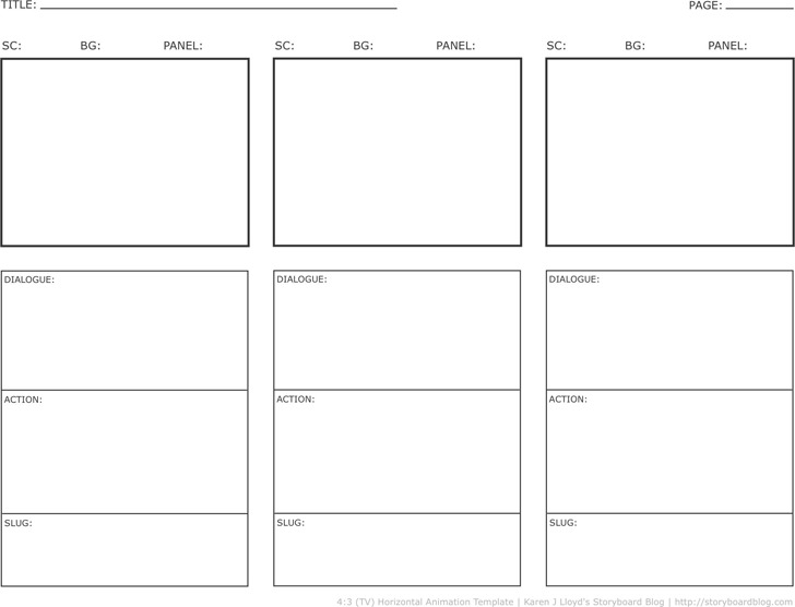 Horizontal Storyboard Template