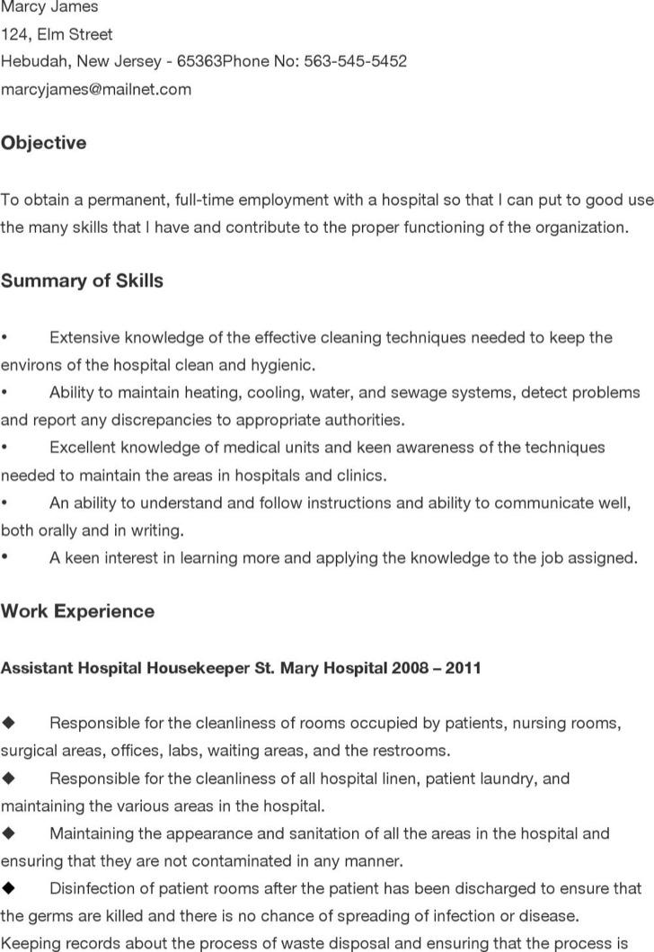 Hospital Custodian Resume
