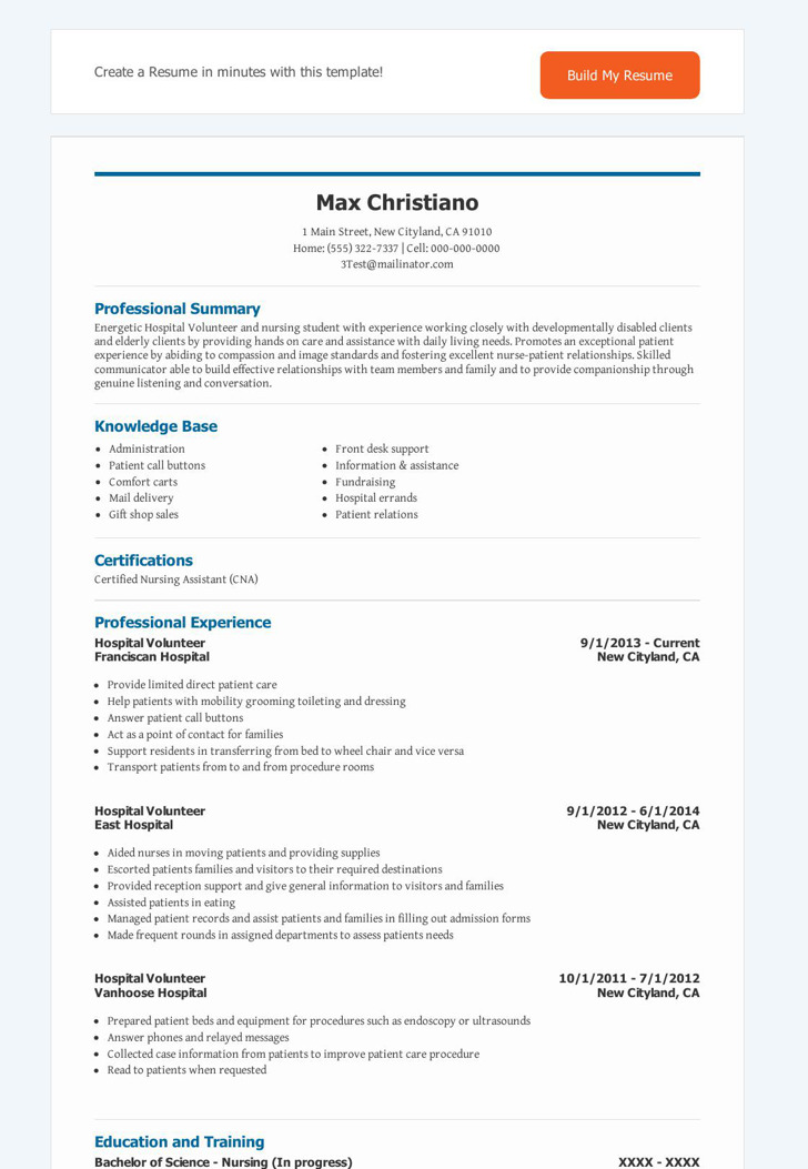 Hospital Volunteer Resume