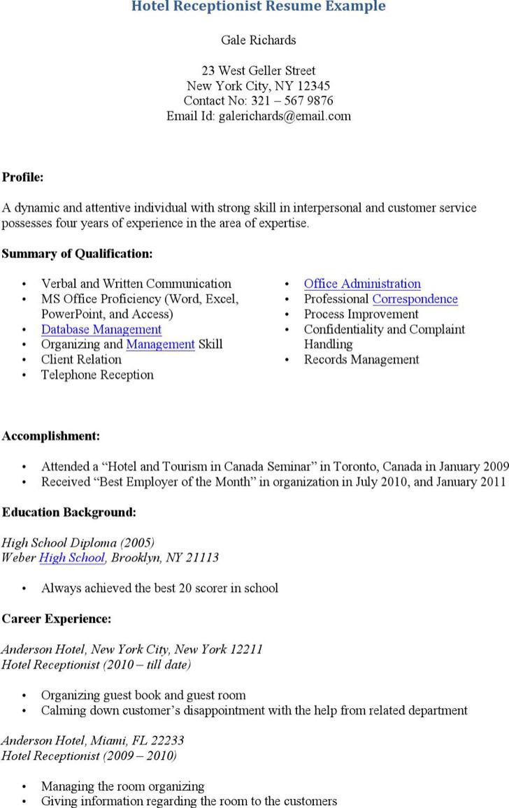 Hotel Receptionist Resume