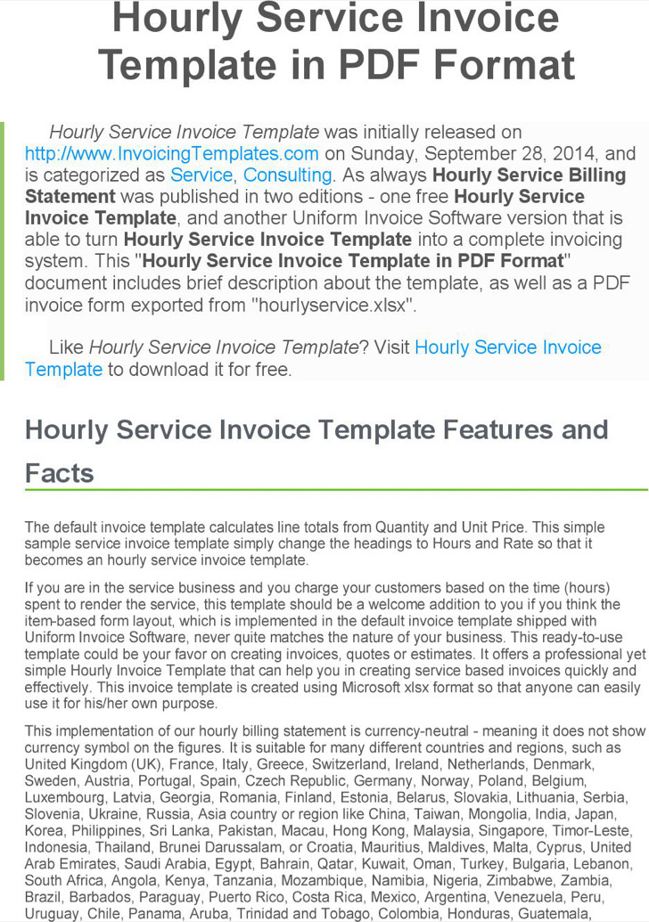 Hourly Service Invoice Pdf Format Free Template