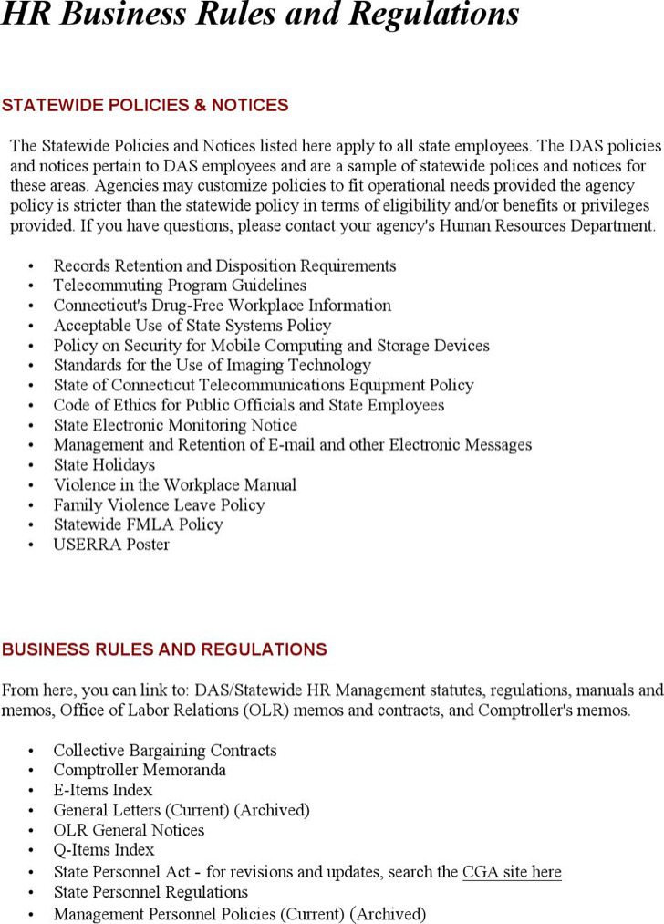 Hr Business Rules And Regulations