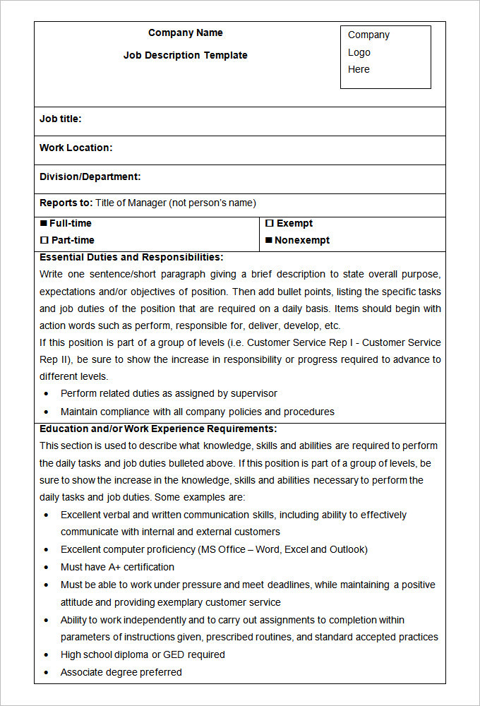 HR Job Description Form Template
