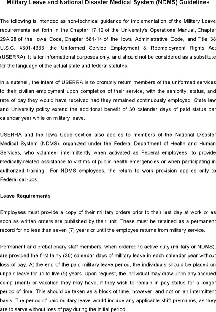 Hr Military Leave And National Disaster Medical System Guidelines
