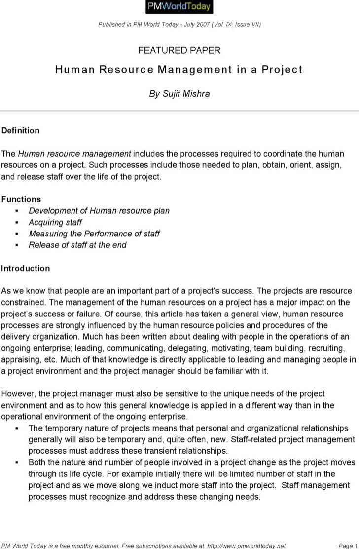 Hr Project Report Template