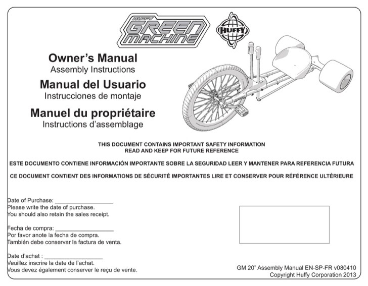 Huffy Owners Manual Sample