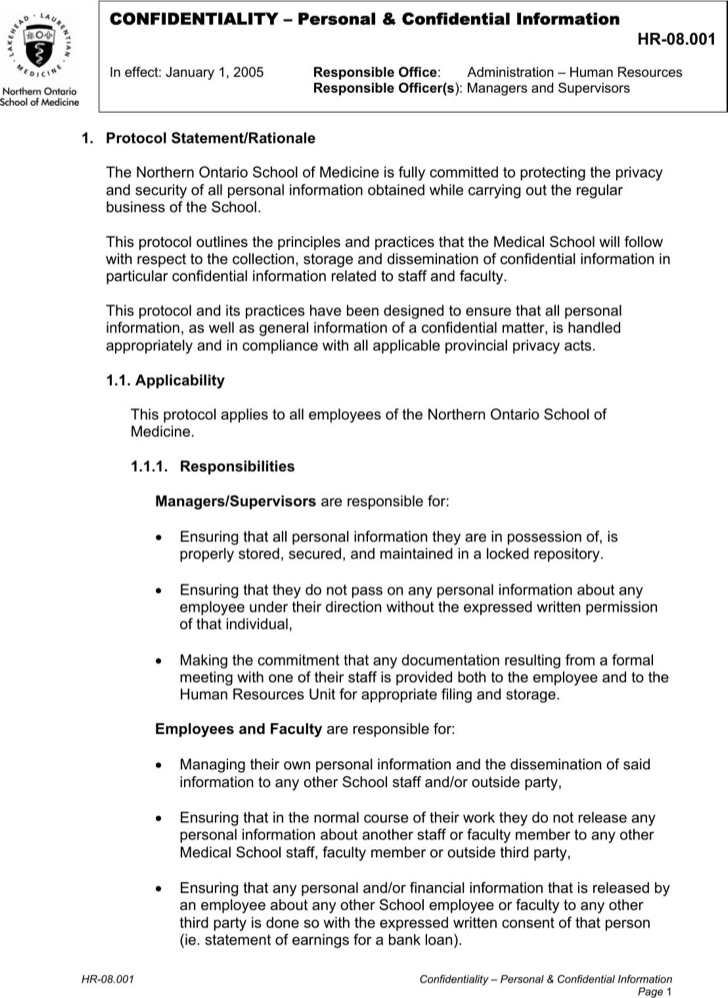 Human Resource Confidentiality Personal And Confidential Information Example