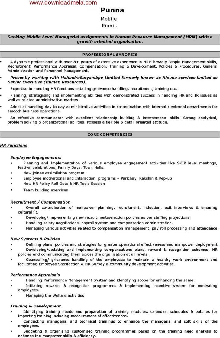 Human Resource Management Sample Resume
