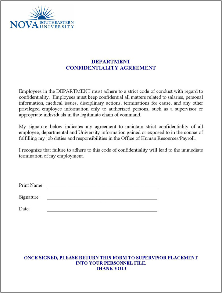 Human Resources Department Confidentiality Agreement