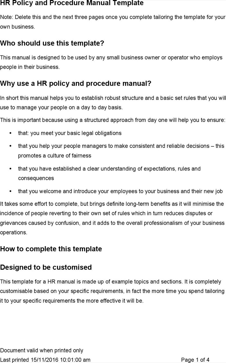 Human Resources Manual Template Word
