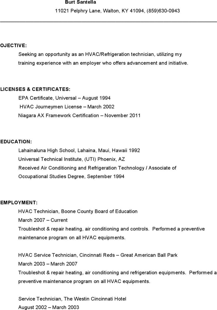 Hvac Service Technician Resume Free Download1