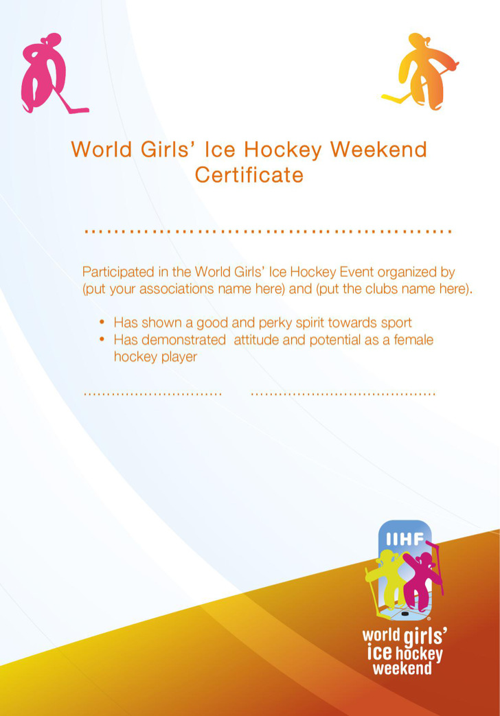 Ice Hockey Certificate Template